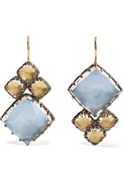 Larkspur & Hawk Sadie Cluster rhodium-dipped quartz earrings