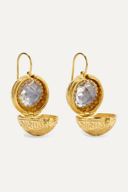 Larkspur & Hawk Olivia Button small gold-dipped quartz earrings