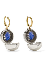 Larkspur & Hawk Lady Jane small 14-karat gold, sterling silver and rhodium-dipped quartz earrings
