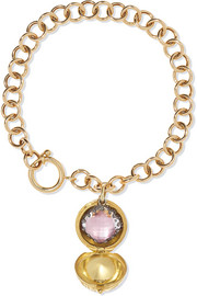 Larkspur & Hawk Lady Antoinette 14-karat gold and rhodium-dipped quartz charm bracelet