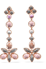 Larkspur & Hawk Sadie Shoulder Cluster rose gold-dipped quartz earrings