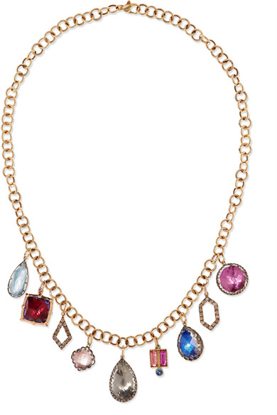 LARKSPUR & HAWK Lady Emily 14-Karat Gold And Rhodium-Dipped Multi-Stone Necklace