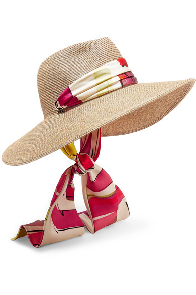 Cassidy Printed Faille-Trimmed Woven Faux Raffia Sunhat in Beige