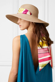 Cassidy printed faille-trimmed woven faux raffia sunhat