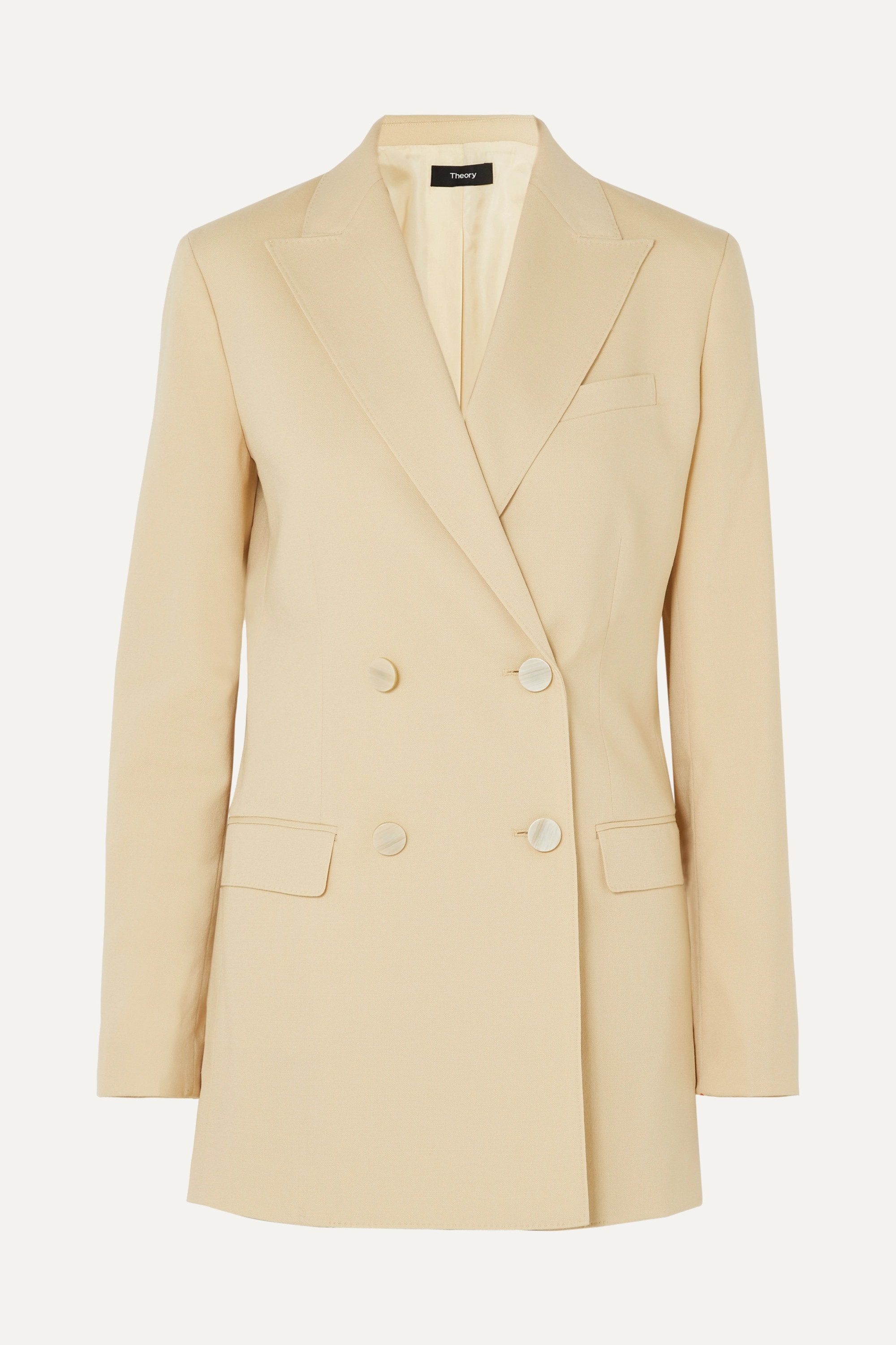 Theory Double-breasted wool-blend canvas blazer