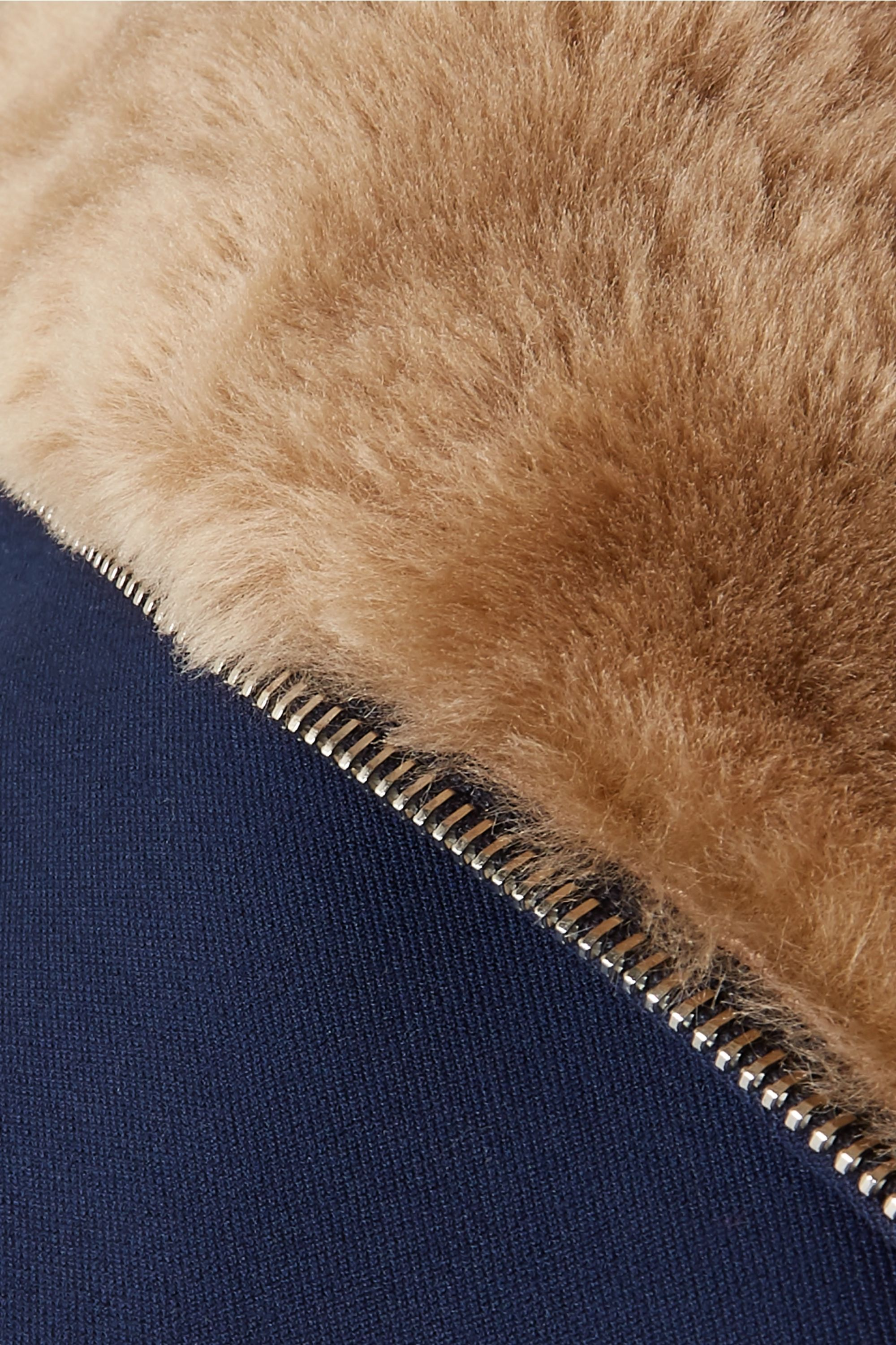 Theory Shearling-trimmed cotton-twill coat