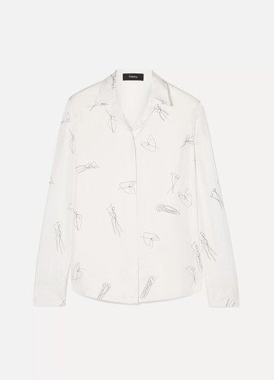 Abstract Printed Silk Twill Button-Down Shirt in White