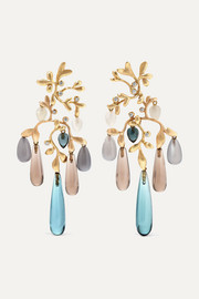 18-karat yellow and rose gold multi-stone earrings