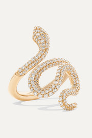Snake medium 18-karat gold diamond ring
