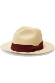 Grosgrain-trimmed toquilla straw Panama hat