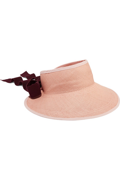 SENSI STUDIO Grosgrain And Canvas-Trimmed Toquilla Straw Visor in Blush