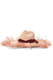 fa43f3347de50 Sensi Studio - Frayed grosgrain-trimmed toquilla straw hat