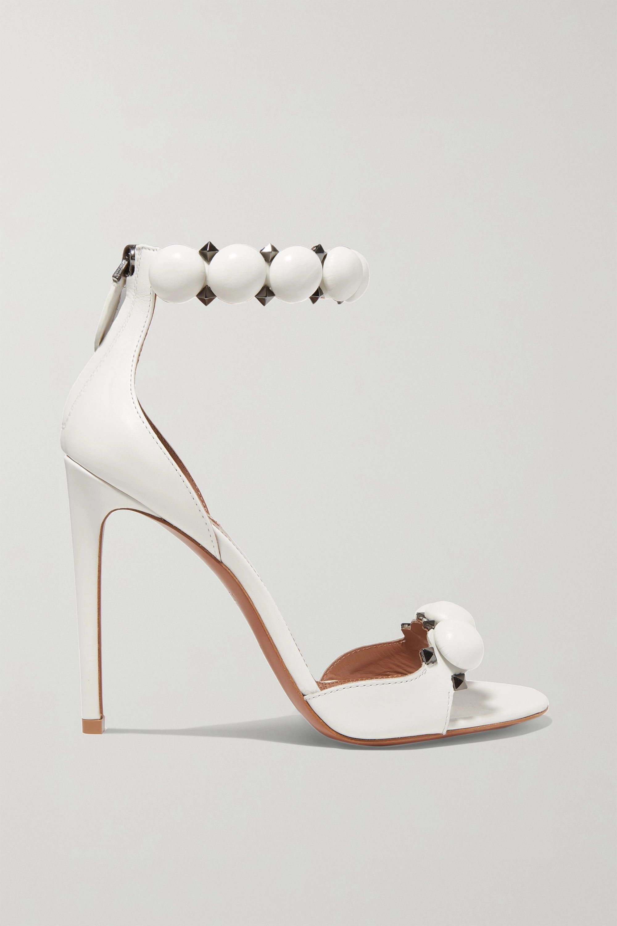 White Bombe 110 studded leather sandals