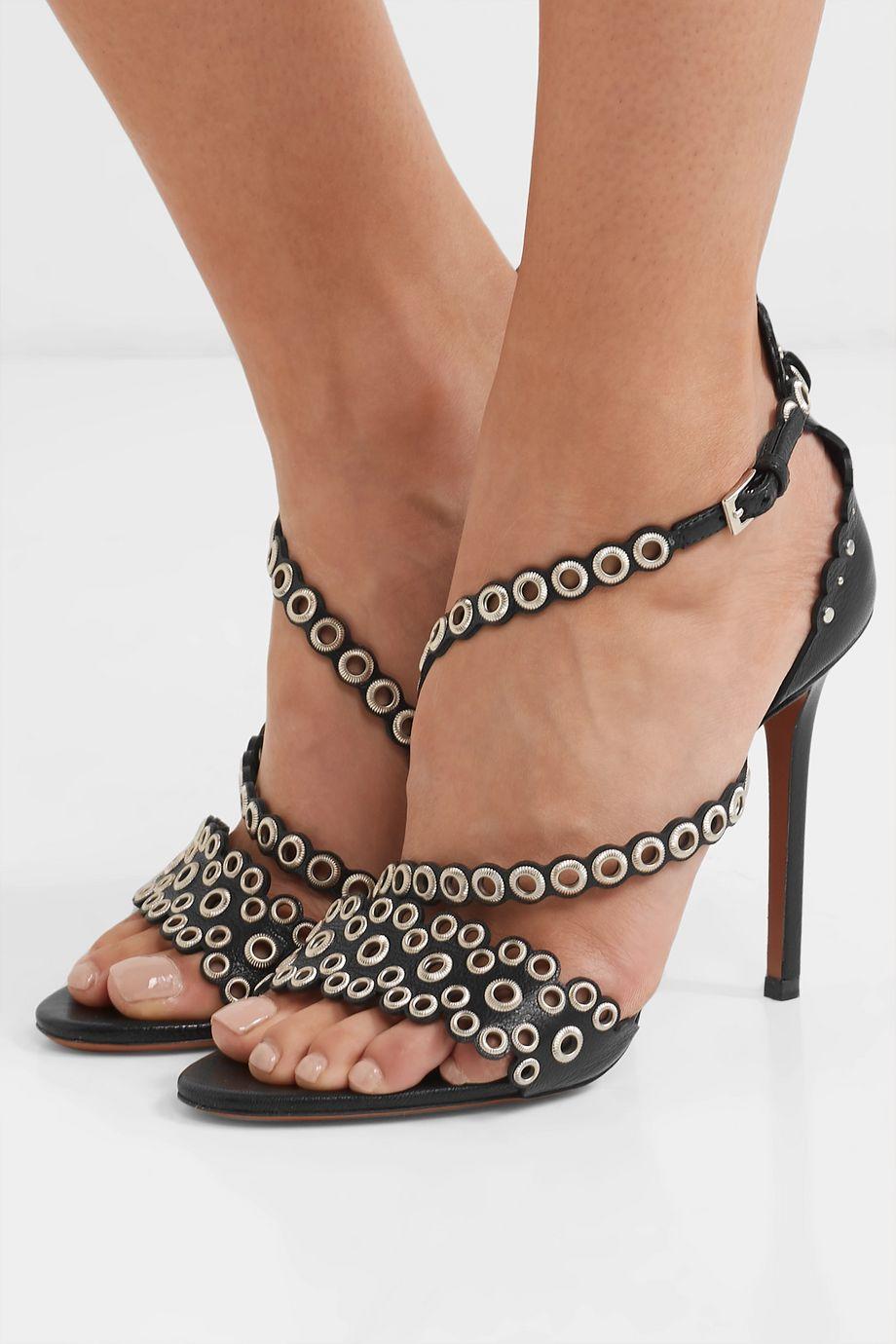 Alaïa 110 eyelet-embellished textured-leather sandals