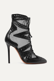 Alaïa 110 mesh and laser-cut leather ankle boots