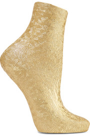 Ribbed metallic silk-blend socks