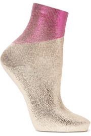 Two-tone metallic silk-blend socks