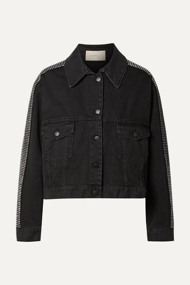 Crystal-Embellished Denim Jacket in Black
