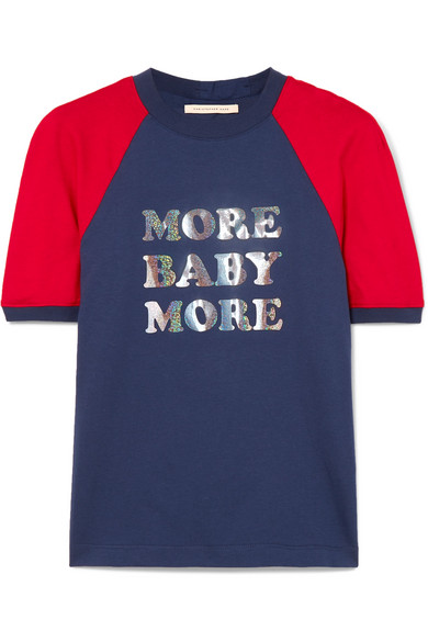 CHRISTOPHER KANE | Christopher Kane - More Baby More Printed Two-tone Cotton-jersey T-shirt - Blue | Goxip