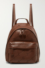 Mini perforated faux leather backpack
