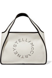 Stella McCartney Faux leather-trimmed eyelet-embellished canvas tote