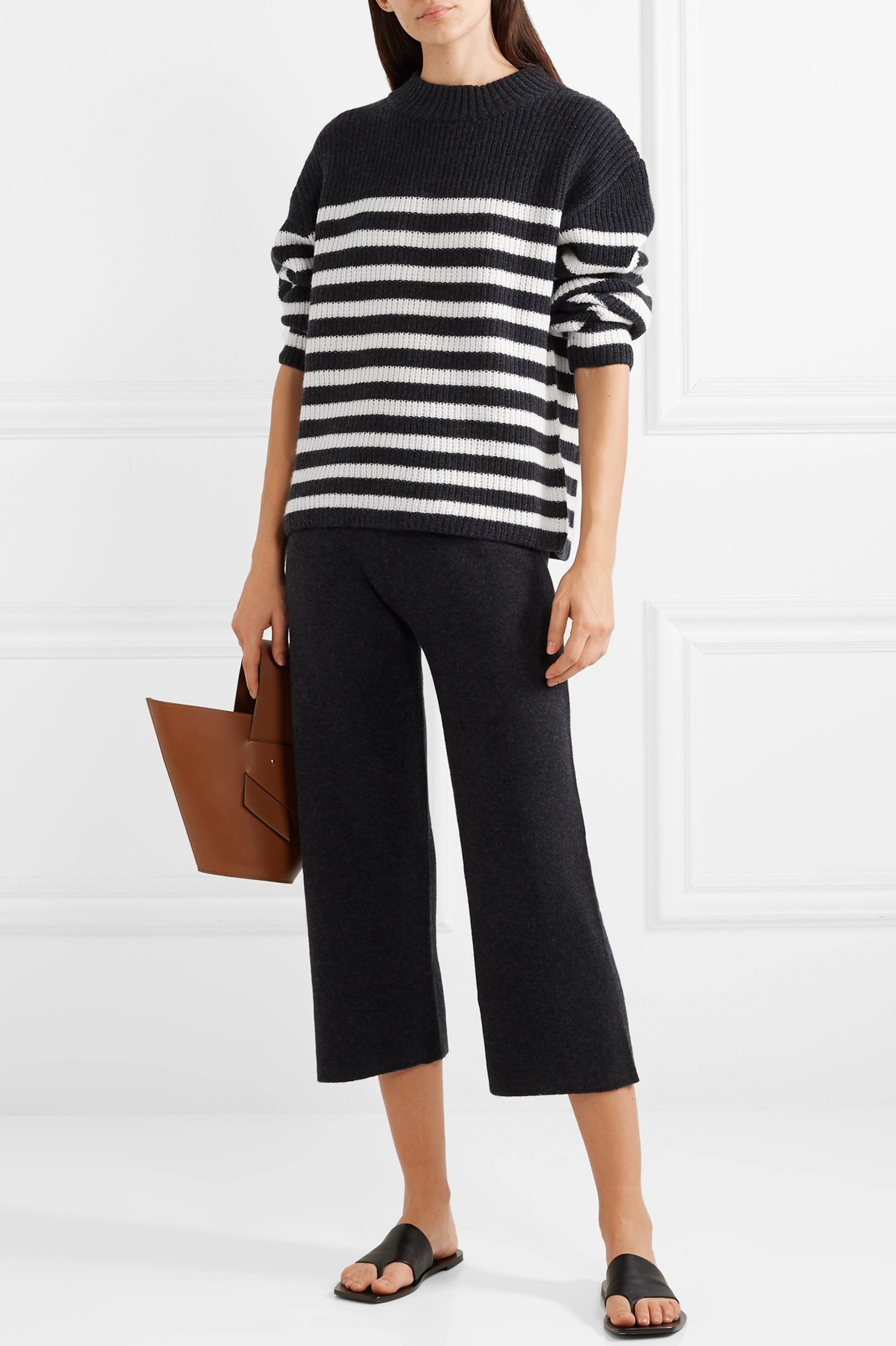 St Malow oversized striped ribbed cashmere sweater