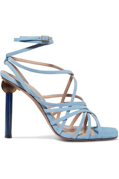 JACQUEMUS | Jacquemus - Pisa Suede Sandals - Blue | Goxip