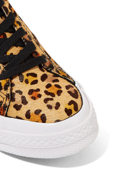 23f830a9711e29 Converse. One Star leopard-print faux calf hair sneakers.  75. More colors  available. Zoom In