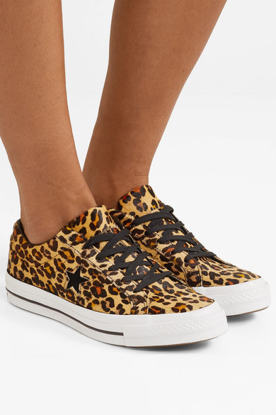 lähemmäs klassinen istuvuus ennakkotilaus Converse | One Star leopard-print faux calf hair sneakers ...