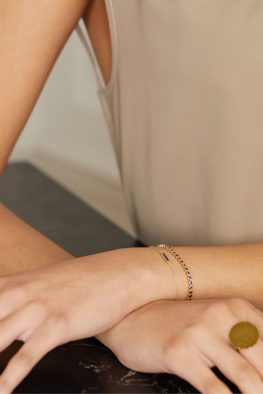 Jennifer Meyer 18-karat gold lapis lazuli bracelet