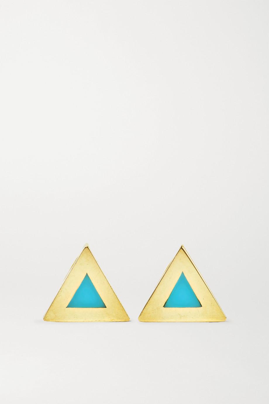Jennifer Meyer Mini Triangle 18-karat gold turquoise earrings