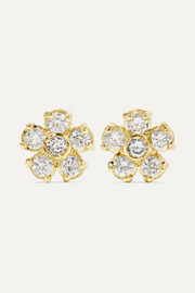 Flower 18-karat gold diamond earrings