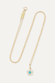 Jennifer Meyer Flower 18-karat gold, diamond and turquoise necklace