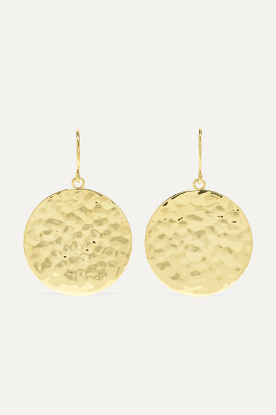 JENNIFER MEYER Small Hammered 18-Karat Gold Earrings