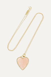 Heart 18-karat gold, opal and diamond necklace