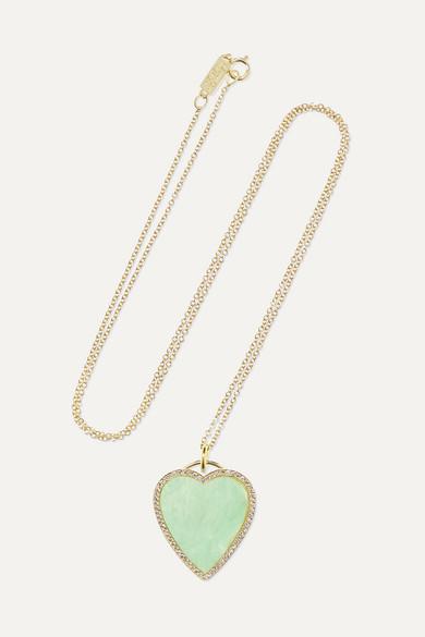 JENNIFER MEYER Heart 18-Karat Gold, Turquoise And Diamond Necklace