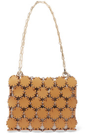 Blossom cutout leather and canvas shoulder bag