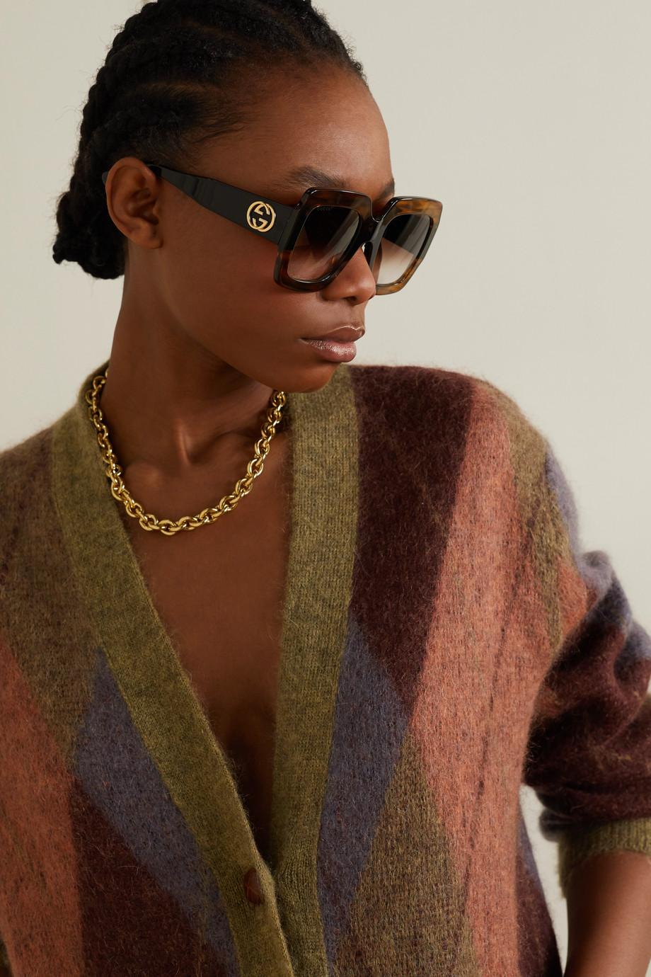 Gucci Oversized-Sonnenbrille mit eckigem Rahmen aus Azetat in Hornoptik