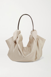 Nanushka Inda croc-effect leather-trimmed knotted satin tote