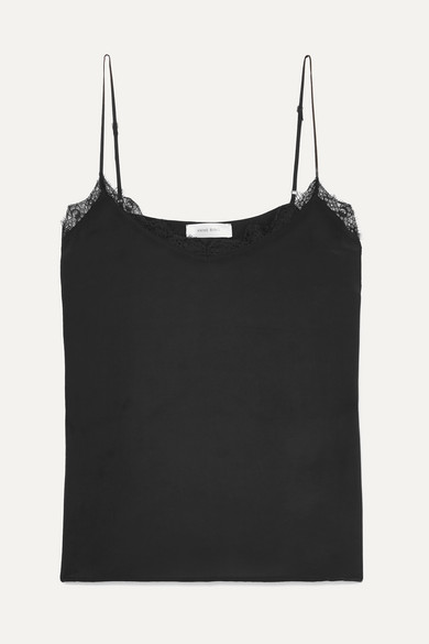 ANINE BING Lace-Trimmed Washed-Silk Camisole in Black