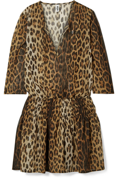 Moschino Beachwear Shirred leopard-print chiffon mini dress
