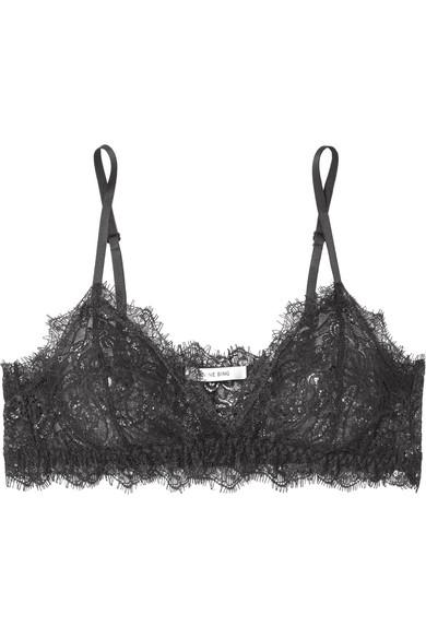 31a73e2bd6977 Anine Bing Rio Stretch-Lace Soft-Cup Triangle Bra In Black