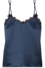 Lace-trimmed silk-charmeuse camisole