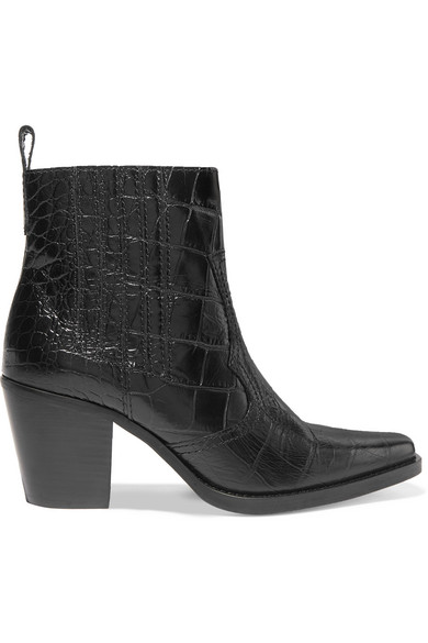 Callie Croc-Effect Leather Ankle Boots in Black