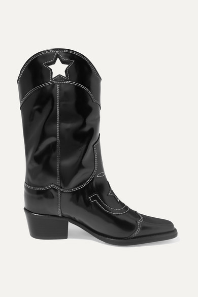 Marlyn Embroidered Patent-Leather Cutout Boots in Black