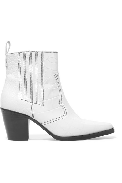 Callie Croc-Effect Leather Ankle Boots in White