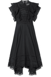 Zimmermann Juno ruffled lace-trimmed Swiss-dot cotton-voile dress