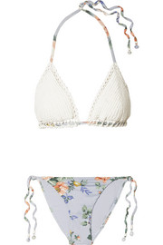 Zimmermann Bowie crochet and floral-print triangle bikini