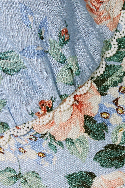 Zimmermann Bowie crochet-trimmed floral-print linen playsuit