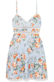 Zimmermann Bowie crochet-trimmed floral-print linen mini dress